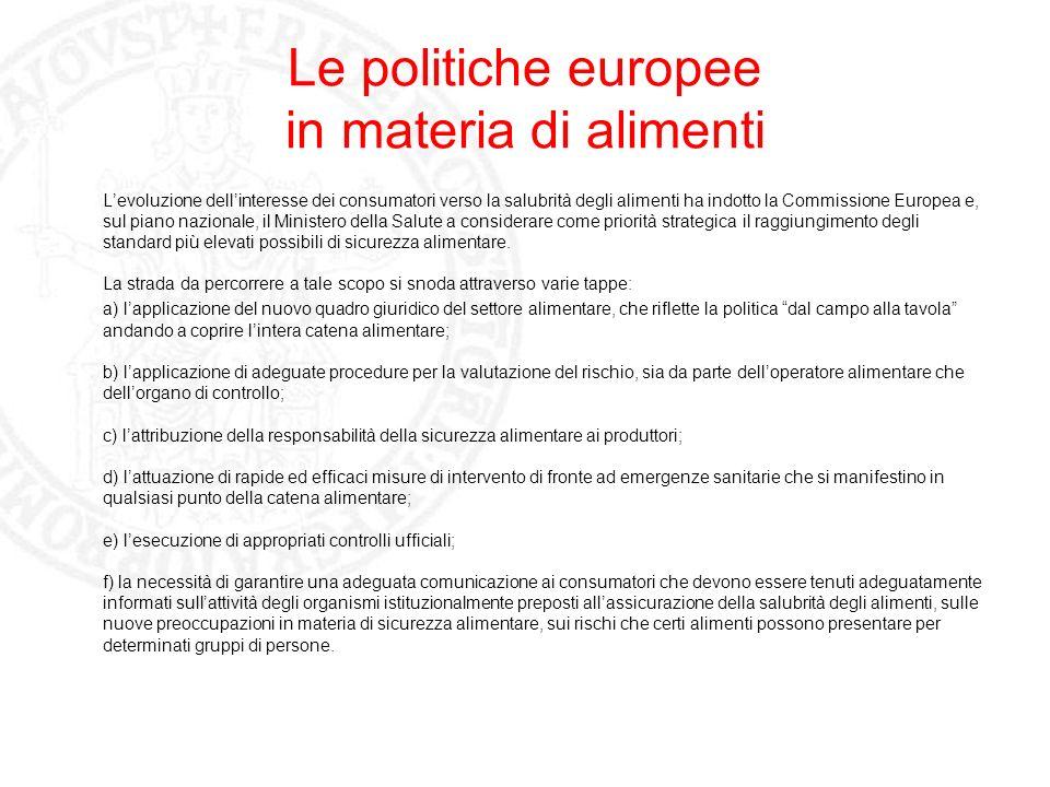 Le politiche europee in materia di alimenti