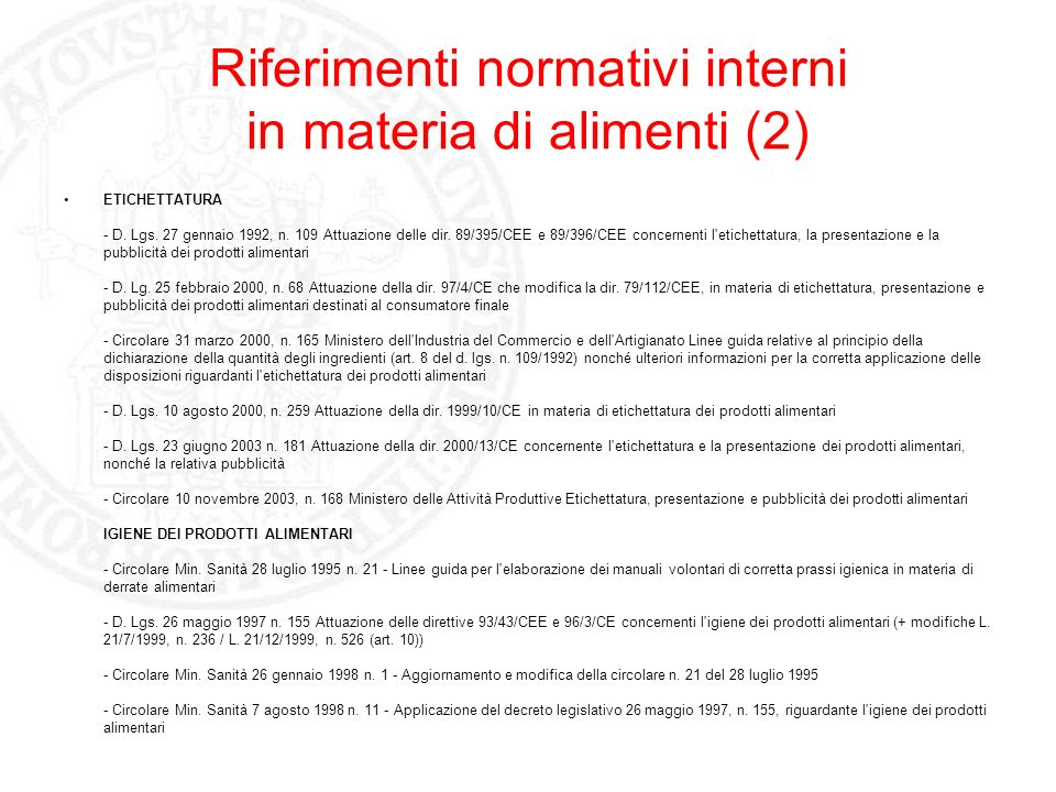 Riferimenti normativi interni in materia di alimenti (2)