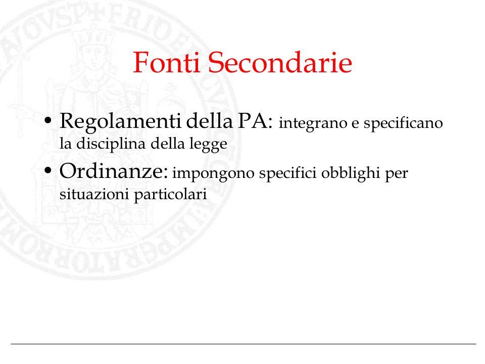 Fonti Secondarie Regolamenti della PA: integrano e specificano la disciplina della legge.