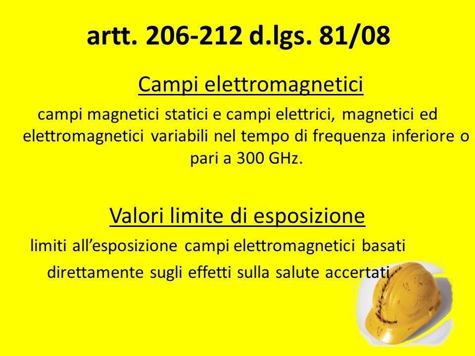 artt. 206-212 d.lgs. 81/08 Campi elettromagnetici