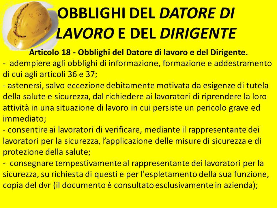 OBBLIGHI DEL DATORE DI LAVORO E DEL DIRIGENTE