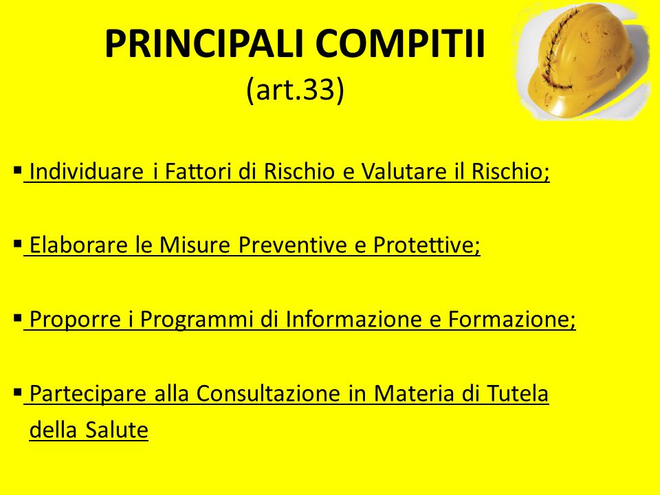 PRINCIPALI COMPITII (art.33)