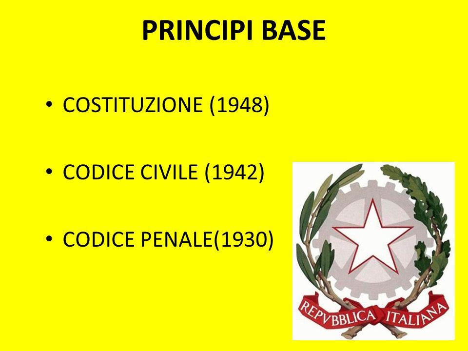 PRINCIPI BASE COSTITUZIONE (1948) CODICE CIVILE (1942)