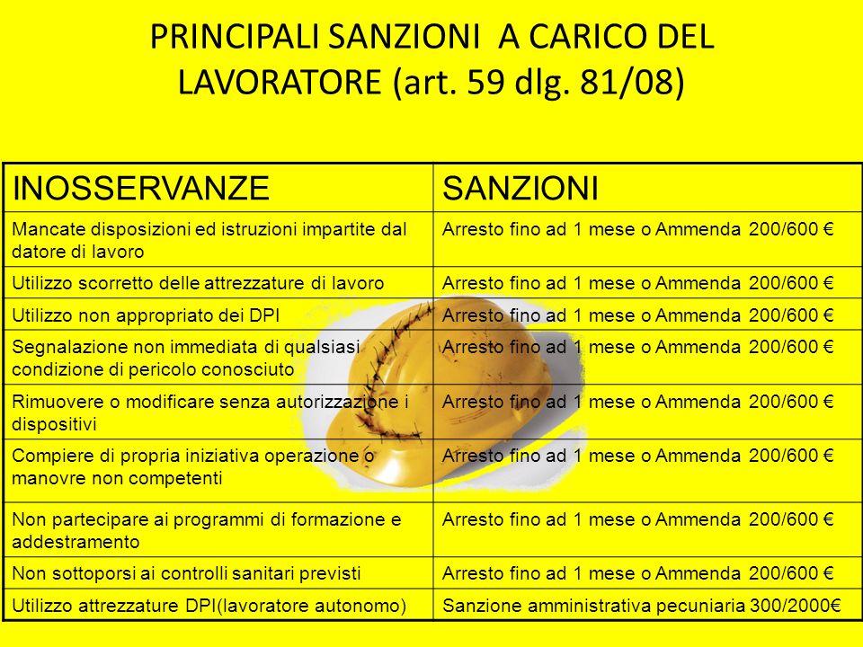 PRINCIPALI SANZIONI A CARICO DEL LAVORATORE (art. 59 dlg. 81/08)