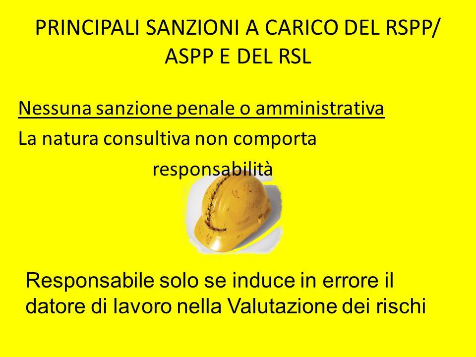 PRINCIPALI SANZIONI A CARICO DEL RSPP/ ASPP E DEL RSL