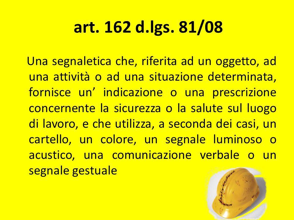 art. 162 d.lgs. 81/08