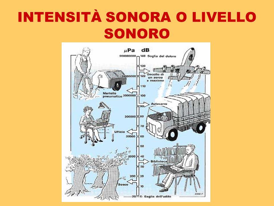 INTENSITÀ SONORA O LIVELLO SONORO