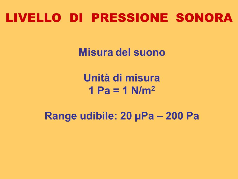 LIVELLO DI PRESSIONE SONORA