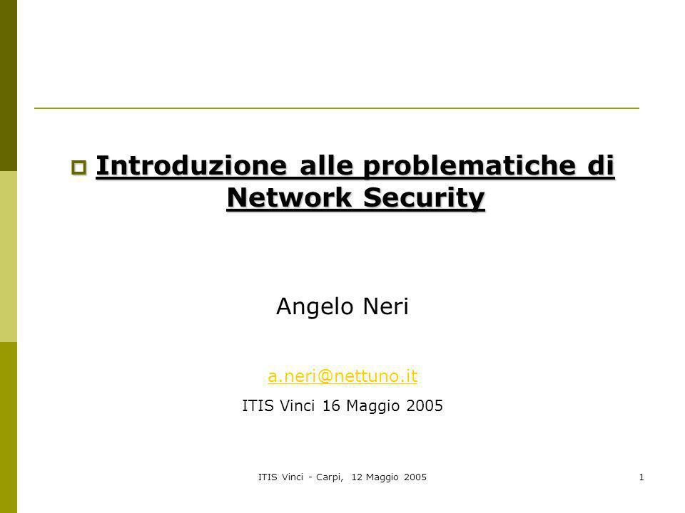 Introduzione alle problematiche di Network Security