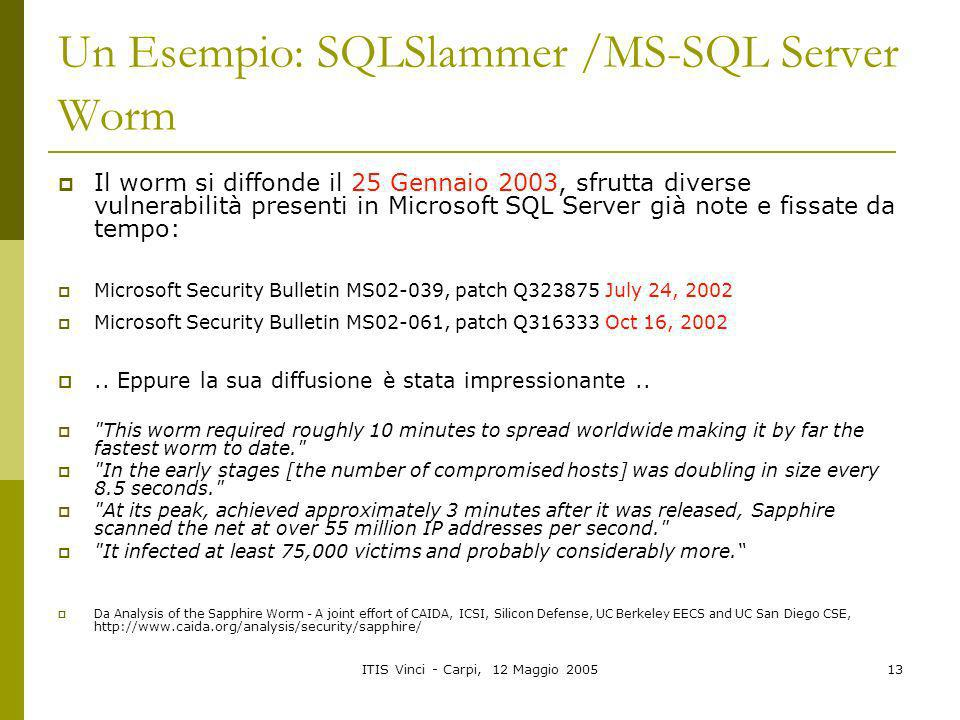 Un Esempio: SQLSlammer /MS-SQL Server Worm