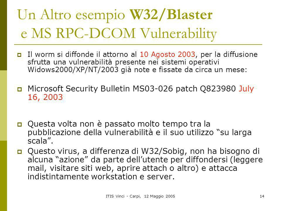 Un Altro esempio W32/Blaster e MS RPC-DCOM Vulnerability
