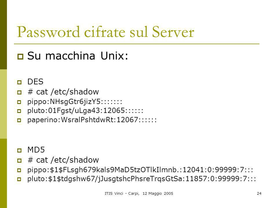 Password cifrate sul Server