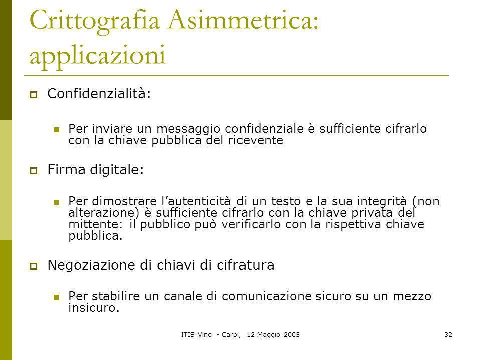 Crittografia Asimmetrica: applicazioni