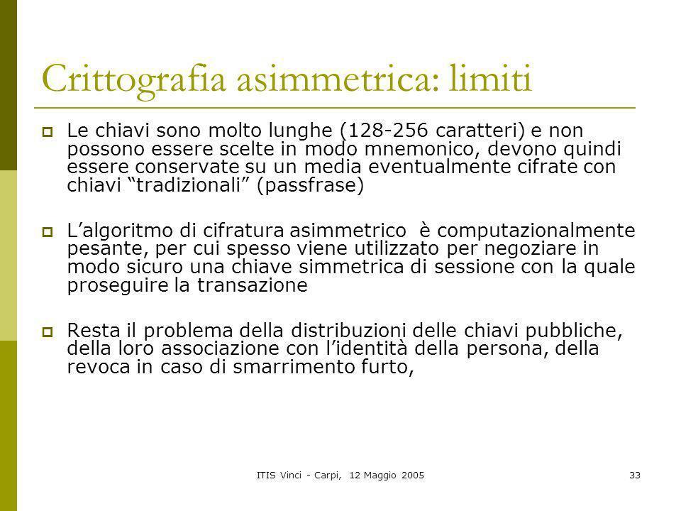 Crittografia asimmetrica: limiti