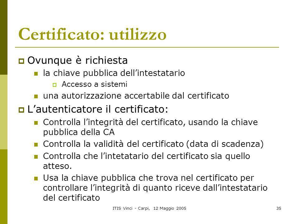Certificato: utilizzo