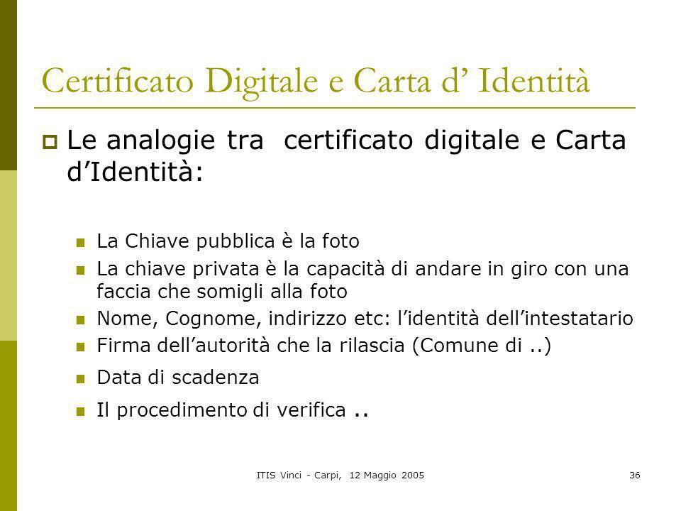 Certificato Digitale e Carta d' Identità