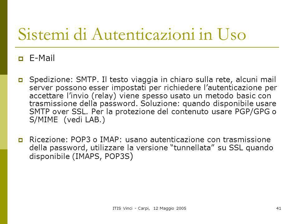 Sistemi di Autenticazioni in Uso