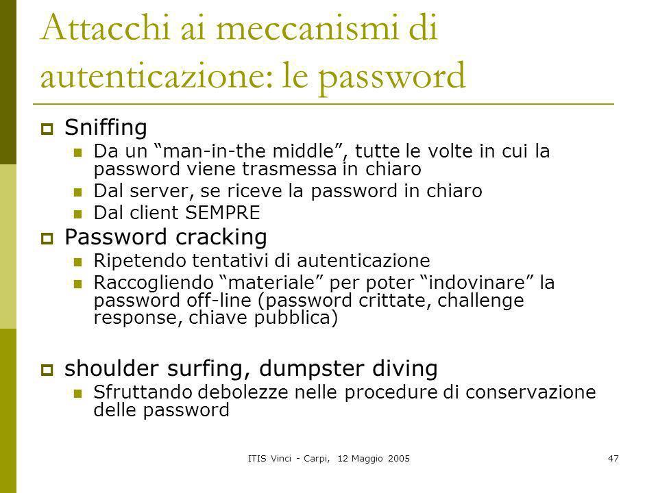 Attacchi ai meccanismi di autenticazione: le password