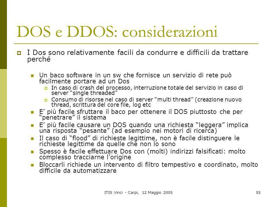 DOS e DDOS: considerazioni