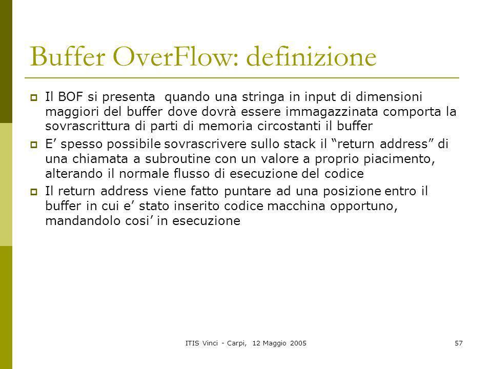 Buffer OverFlow: definizione