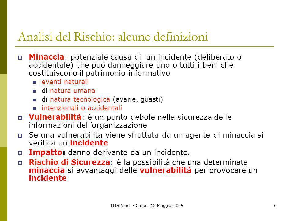 Analisi del Rischio: alcune definizioni