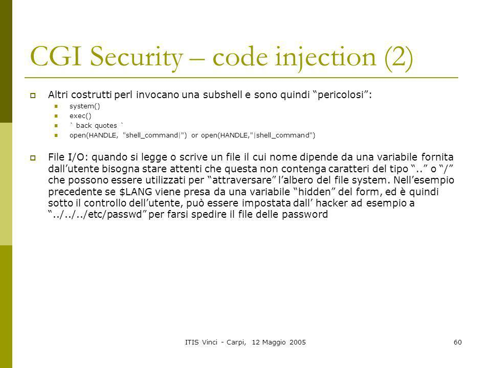 CGI Security – code injection (2)