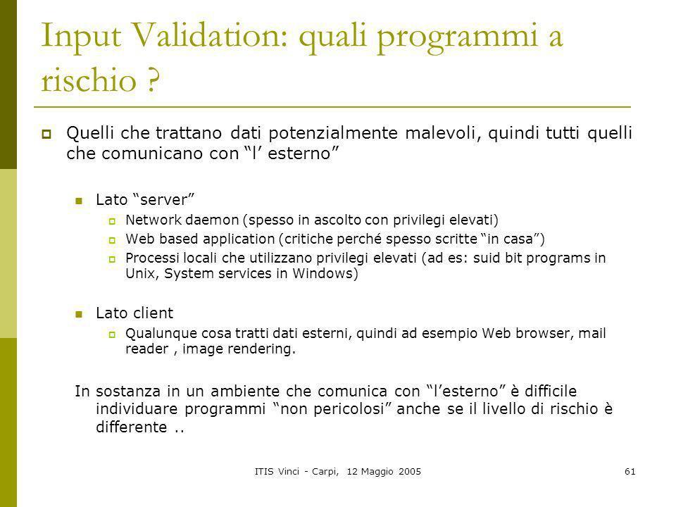 Input Validation: quali programmi a rischio