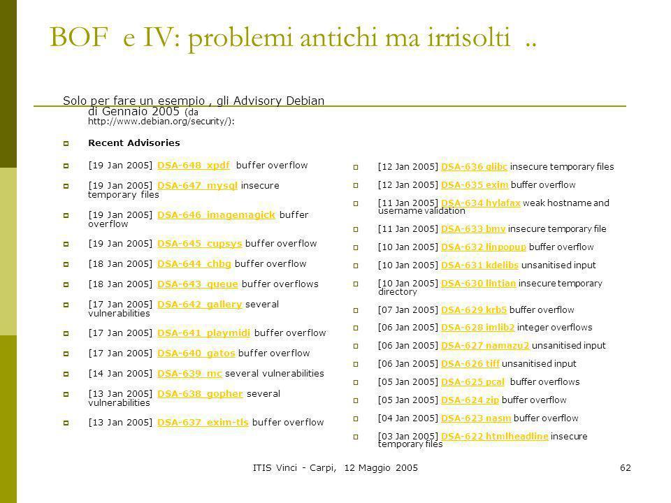 BOF e IV: problemi antichi ma irrisolti ..