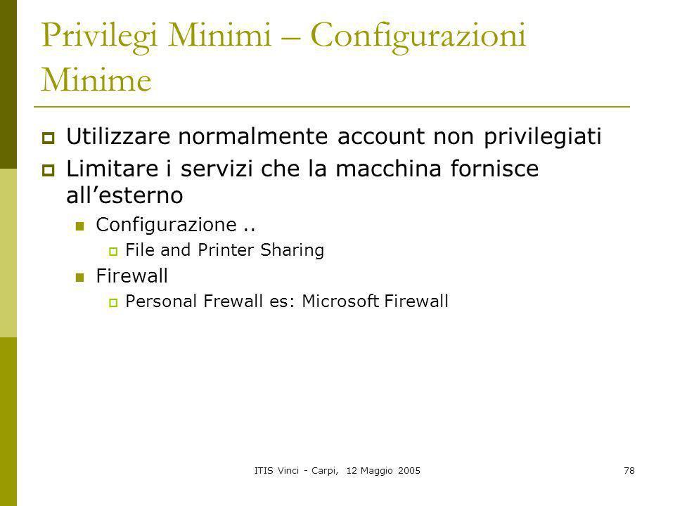 Privilegi Minimi – Configurazioni Minime
