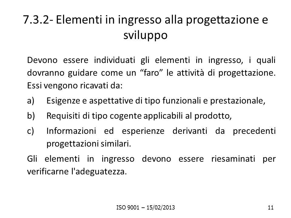 7.3.2- Elementi in ingresso alla progettazione e sviluppo