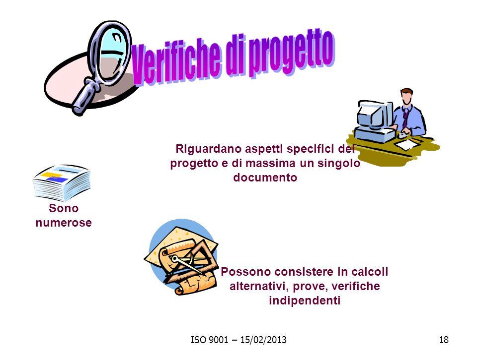 Verifiche di progetto Riguardano aspetti specifici del progetto e di massima un singolo documento. Sono numerose.