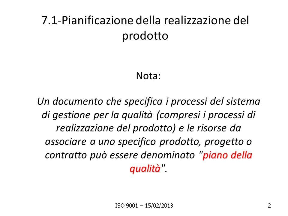7.1-Pianificazione della realizzazione del prodotto