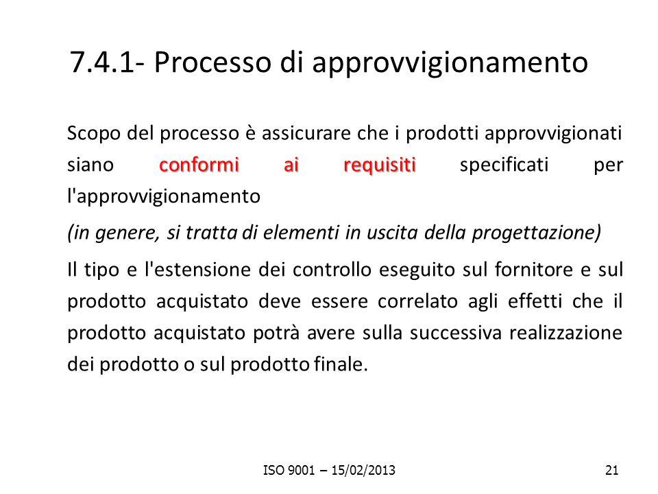 7.4.1- Processo di approvvigionamento