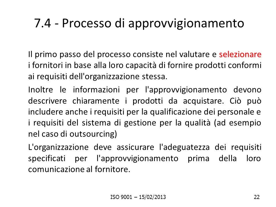 7.4 - Processo di approvvigionamento