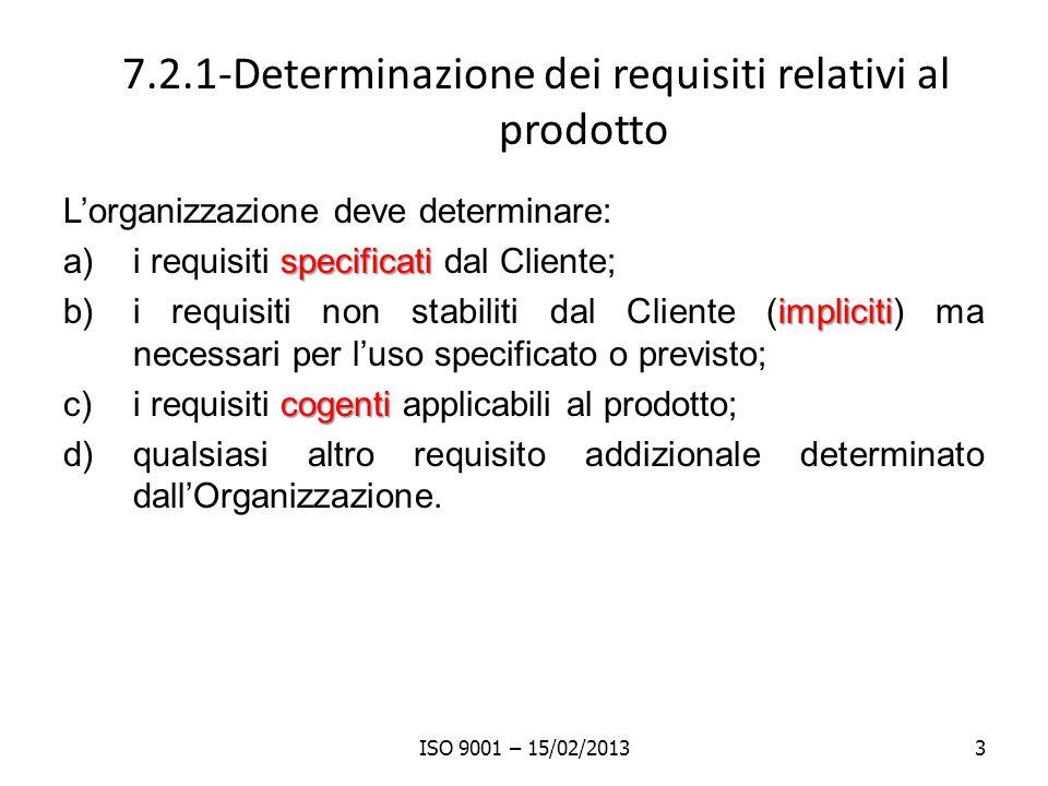7.2.1-Determinazione dei requisiti relativi al prodotto