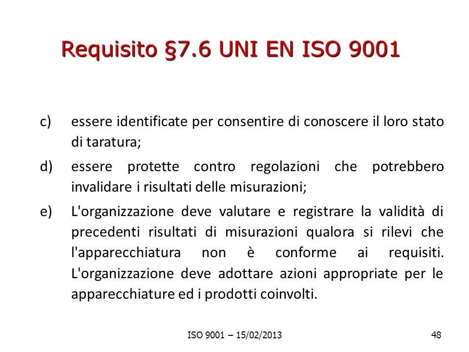 Requisito §7.6 UNI EN ISO 9001 essere identificate per consentire di conoscere il loro stato di taratura;