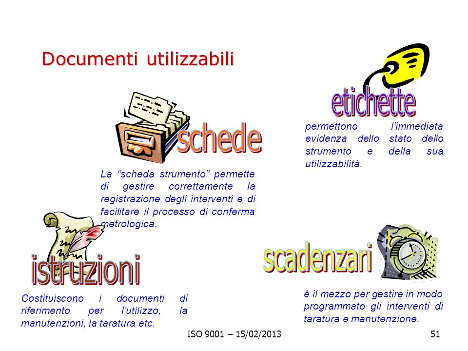 etichette schede scadenzari istruzioni Documenti utilizzabili