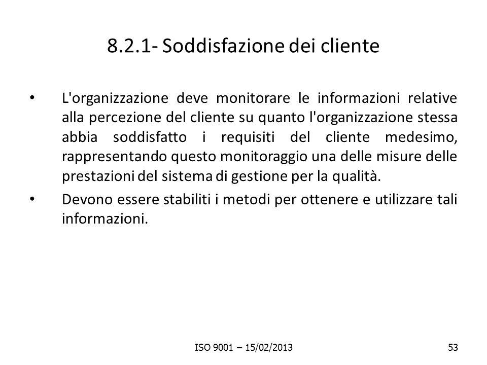 8.2.1- Soddisfazione dei cliente