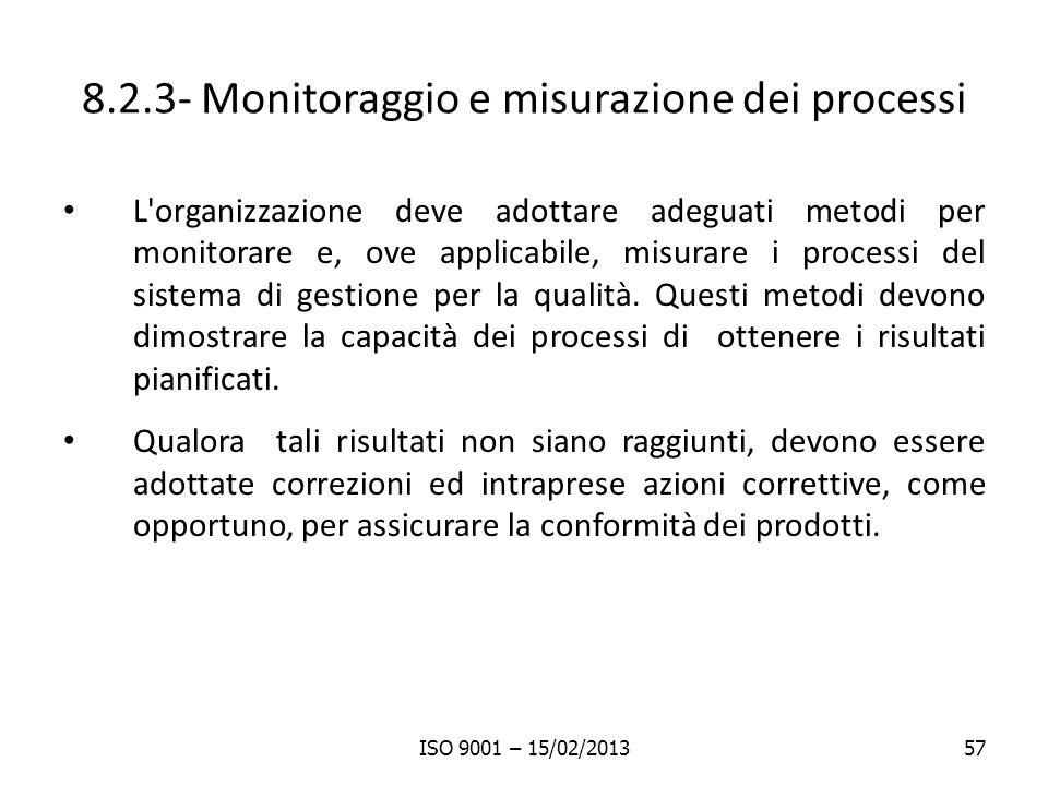 8.2.3- Monitoraggio e misurazione dei processi