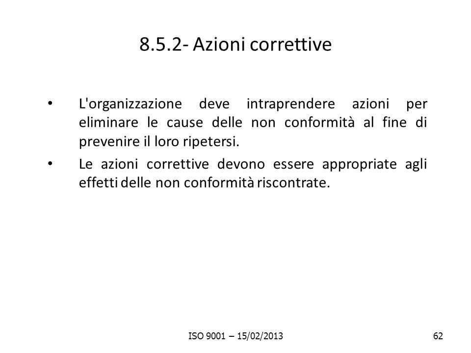 8.5.2- Azioni correttive