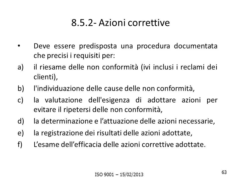 8.5.2- Azioni correttive Deve essere predisposta una procedura documentata che precisi i requisiti per: