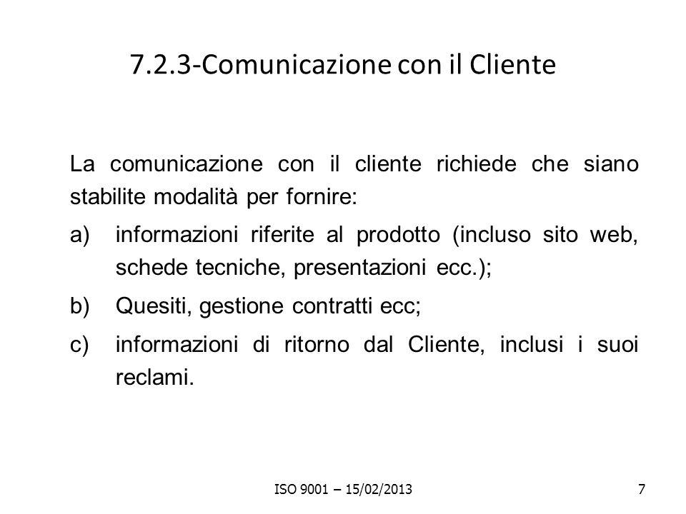 7.2.3-Comunicazione con il Cliente