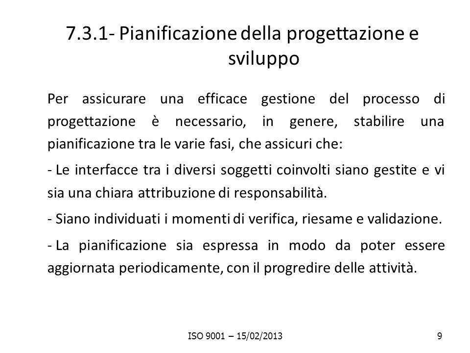 7.3.1- Pianificazione della progettazione e sviluppo