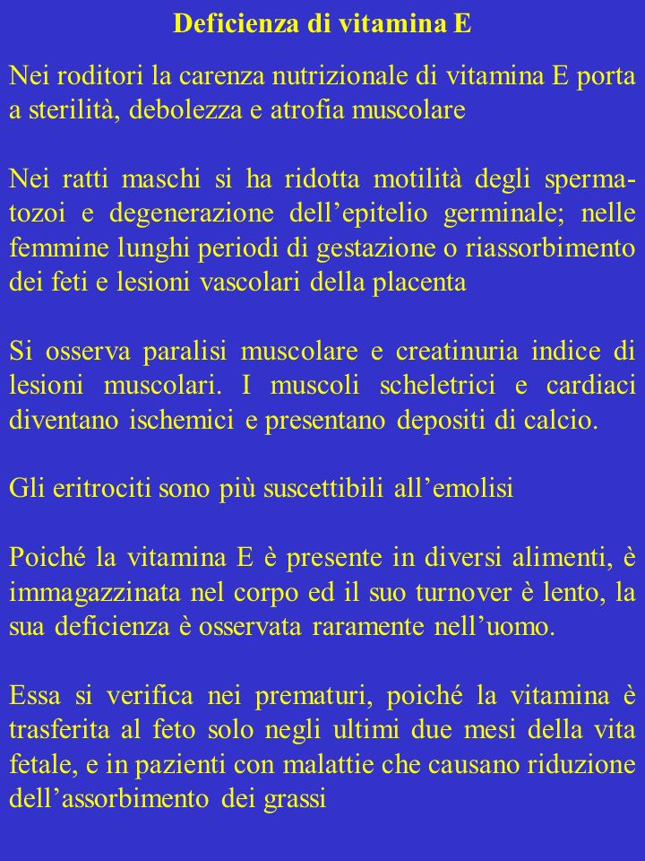 Deficienza di vitamina E