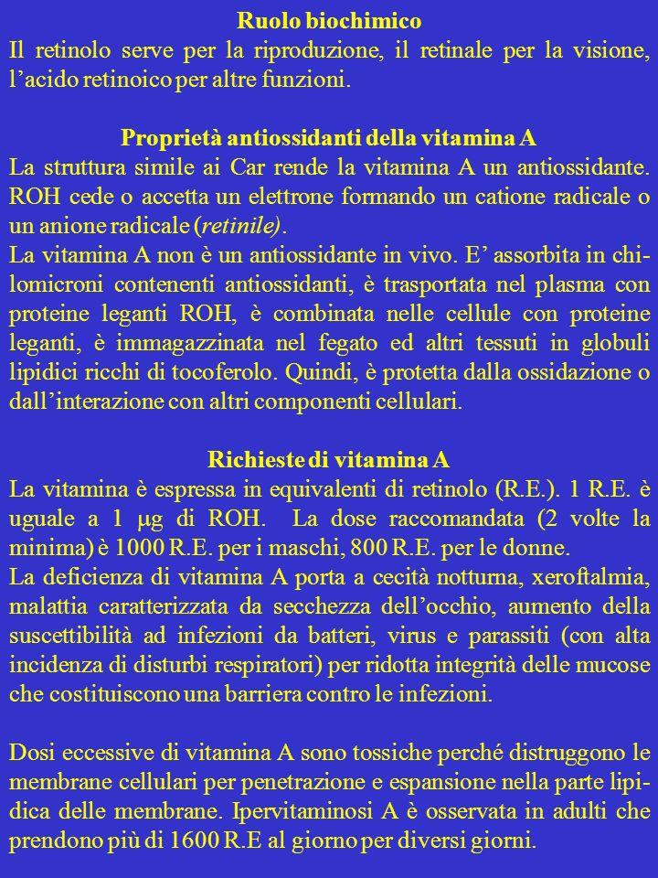 Proprietà antiossidanti della vitamina A