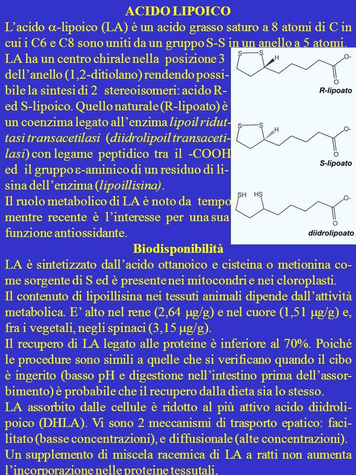ACIDO LIPOICO L'acido -lipoico (LA) è un acido grasso saturo a 8 atomi di C in cui i C6 e C8 sono uniti da un gruppo S-S in un anello a 5 atomi.