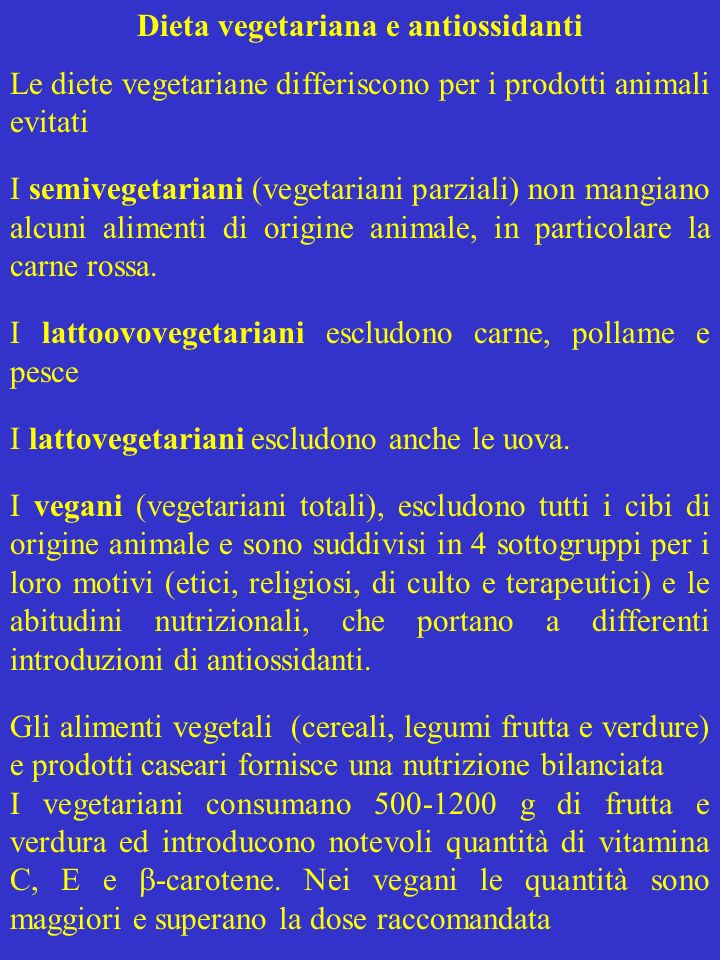 Dieta vegetariana e antiossidanti
