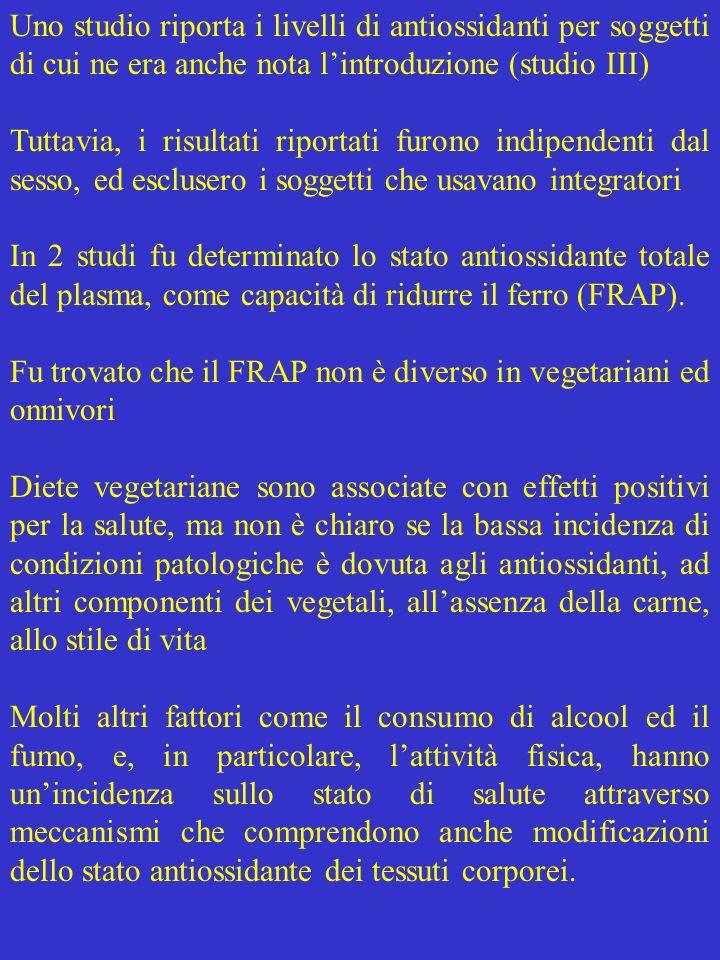 Uno studio riporta i livelli di antiossidanti per soggetti di cui ne era anche nota l'introduzione (studio III)