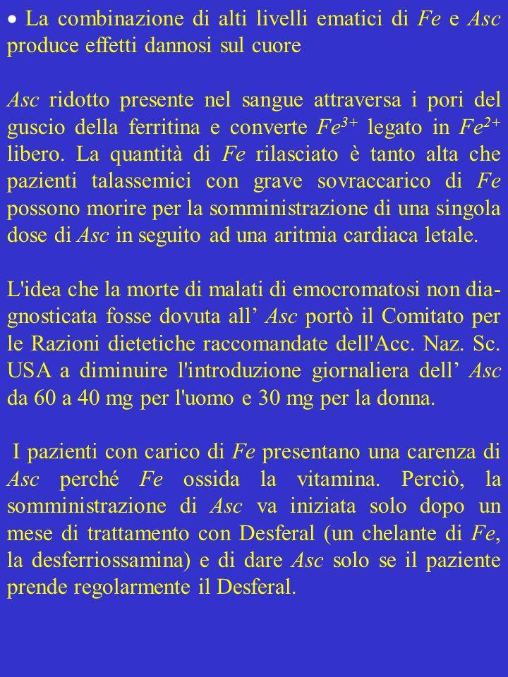  La combinazione di alti livelli ematici di Fe e Asc produce effetti dannosi sul cuore
