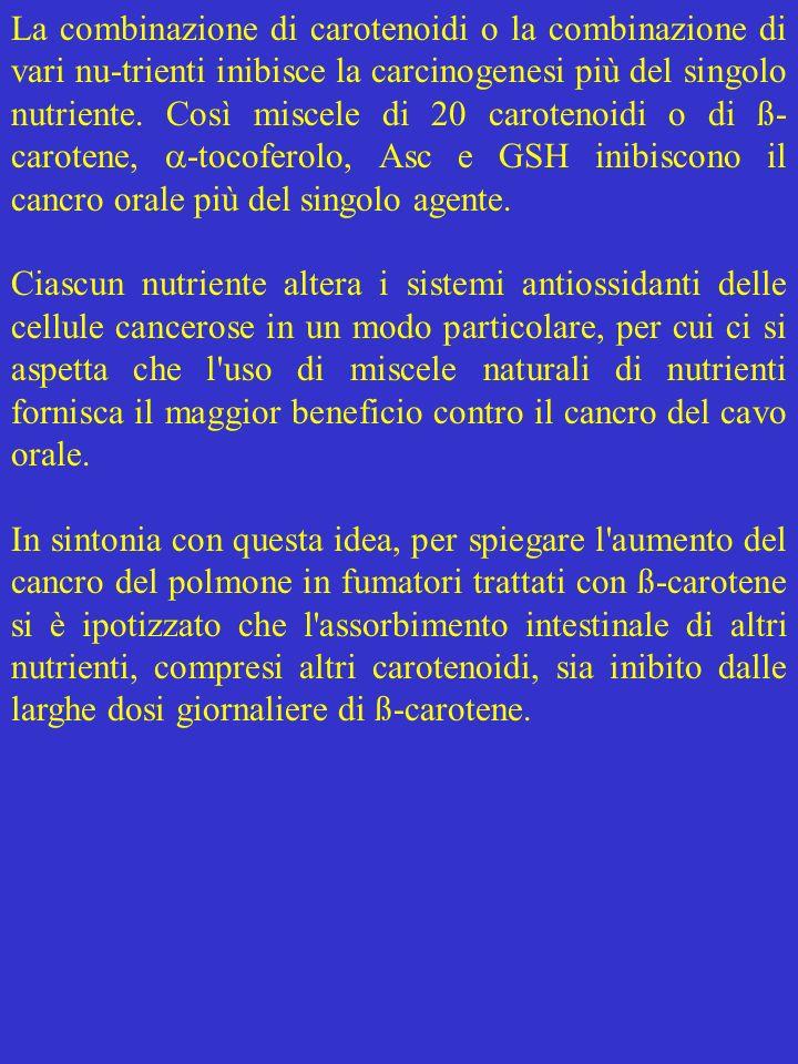 La combinazione di carotenoidi o la combinazione di vari nu-trienti inibisce la carcinogenesi più del singolo nutriente. Così miscele di 20 carotenoidi o di ß-carotene, -tocoferolo, Asc e GSH inibiscono il cancro orale più del singolo agente.